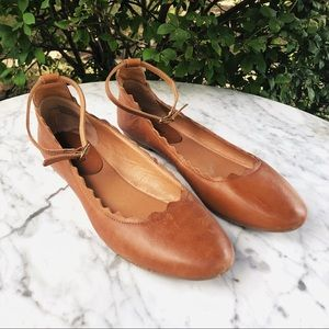 Crown Vintage Brown Leather Ballet Flats w/ Strap